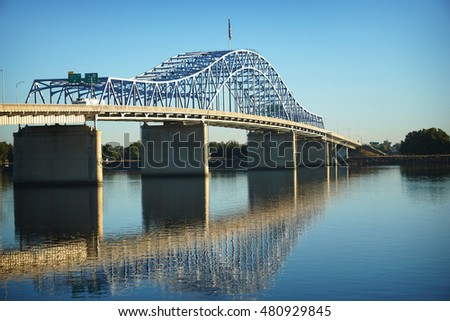 blue  bridge over Columbia river  in Tri-Cities Washington