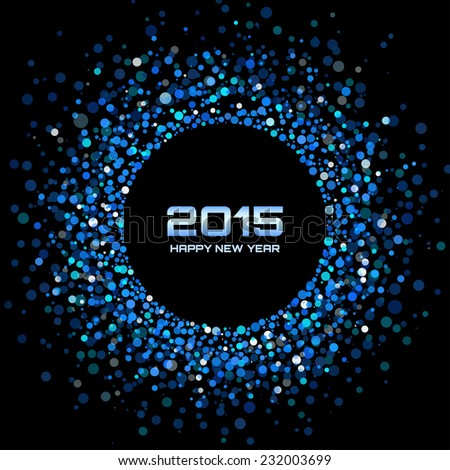Blue Bright New Year 2015 Background, raster illustration  - stock photo