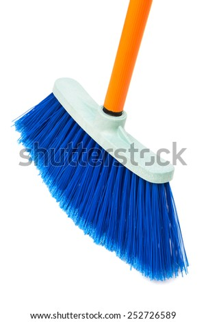 blue brush the floor on a white background - stock photo