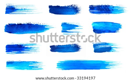 Blue brushes in high resolution - stock photo