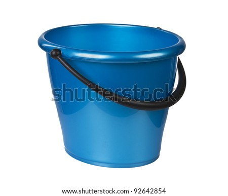 blue bucket for cleaning isolaetd on white background