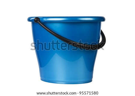 blue bucket for cleaning isolated on white background