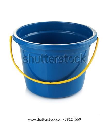 blue bucket isolated on white background - stock photo