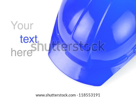 Blue build helmet closeup with space to text - stock photo
