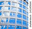 blue building abstract detail blocks - stock photo