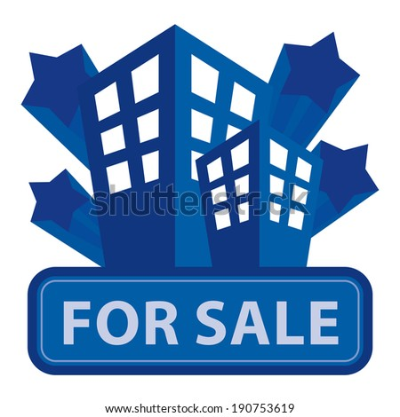 Blue Building, Apartment or Office For Sale Icon or Label Isolated on White Background - stock photo