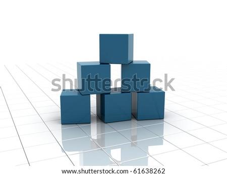 Blue building blocks - stock photo