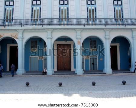 Blue building - Old Havana Building facade - stock photo