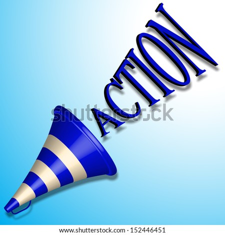 blue bullhorn icon and action command shadowed over blue background, abstract art illustration - stock photo