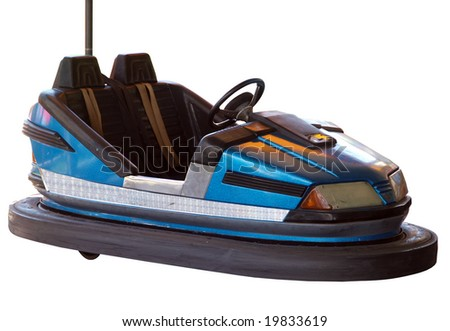 Blue Bumper Car isolated with clipping path - stock photo
