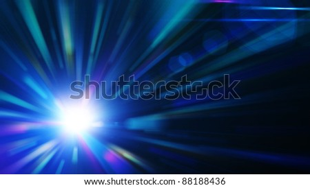 Blue burst, abstract background - stock photo