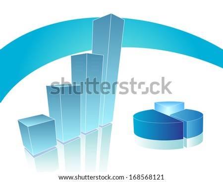 Blue business chart and pie - stock photo