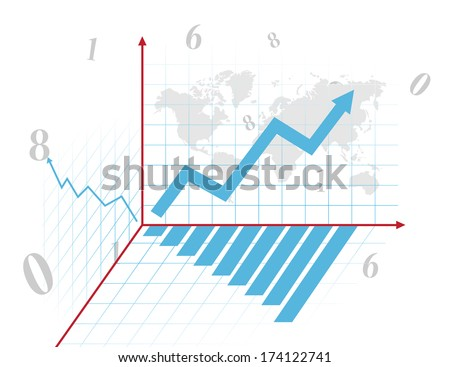 Blue business chart with arrow - stock photo
