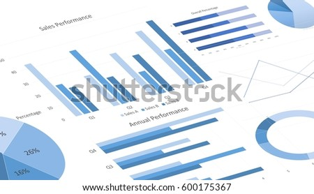 Blue Business Charts Graphs Annual Reports Stock Photo ...