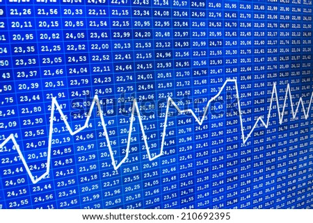Blue business data stock screen and graph. Financial and stock exchange data on computer screen. Technology economy concept. World economics graph,  data and statistics showing financial success  - stock photo