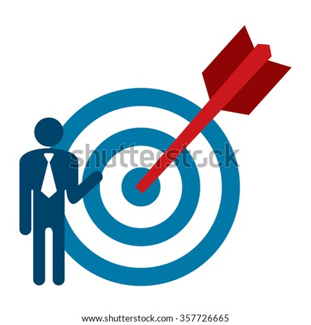 Blue Businessman With Dart Hits Target Infographics Flat Icon, Sign Isolated on White Background