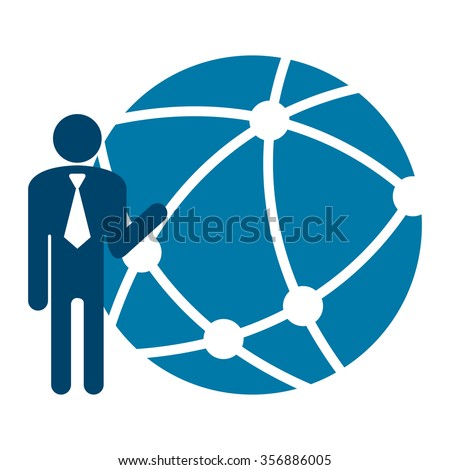 Blue Businessman With Worldwide, Business Connection, Social Network, Global Communication Infographics Flat Icon, Sign Isolated on White Background  - stock photo