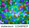 Blue Butterflies Abstract Background - stock vector