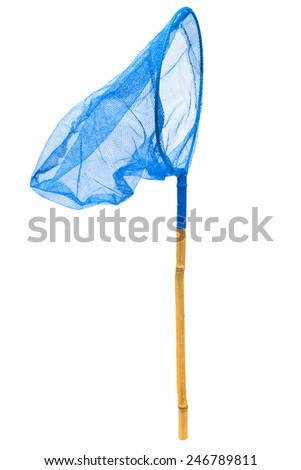 blue butterfly net on a white background - stock photo