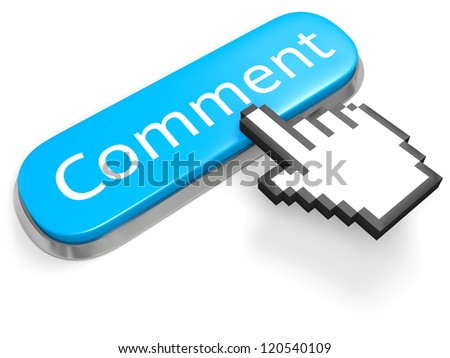 Blue button Comment and hand cursor isolated on white