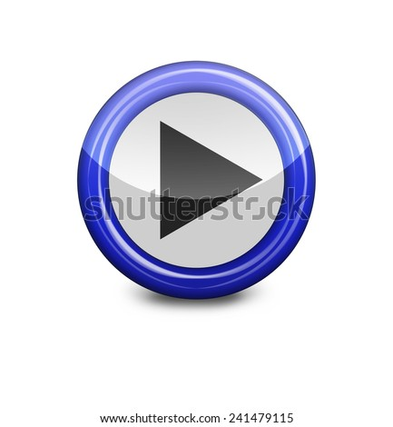 blue button play on a white background