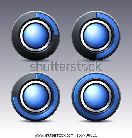 Blue button with digital timer. - stock photo