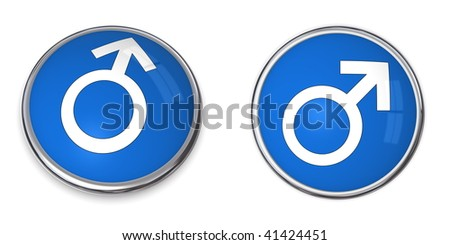 blue button with white male gender sign/symbol - stock photo