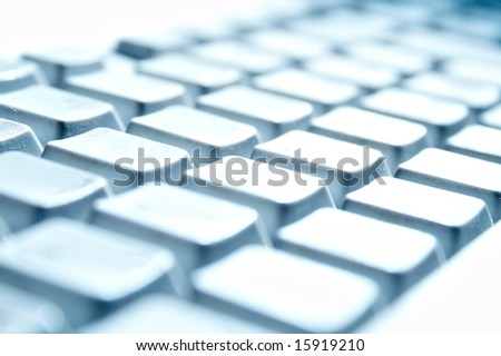 blue buttons of the keyboard from computer - stock photo