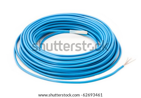 blue cable on white background - stock photo