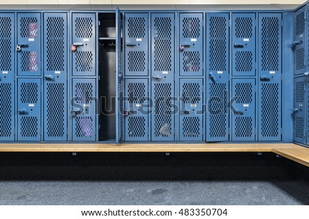 Blue Cage Lockers Gym Bench Front Stock Photo (Royalty ...