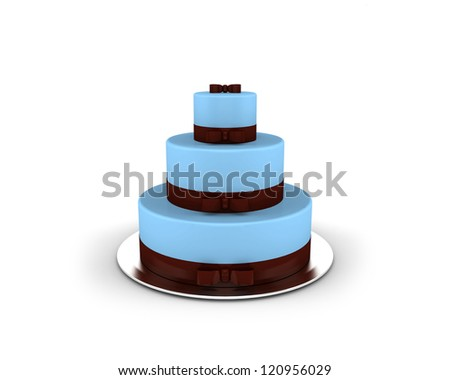 Blue cake on three floors with chocolate ribbons and bows on it isolated on white background - stock photo