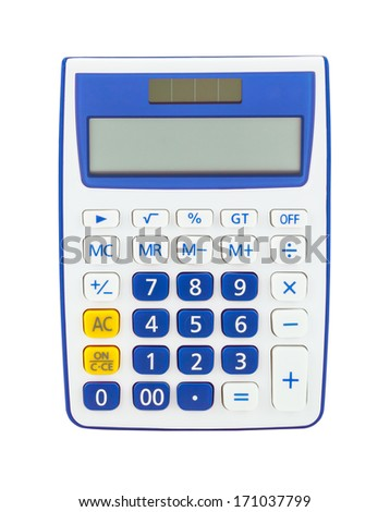 Blue calculator isolated on a white background - stock photo