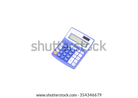 blue calculator on a white background - stock photo