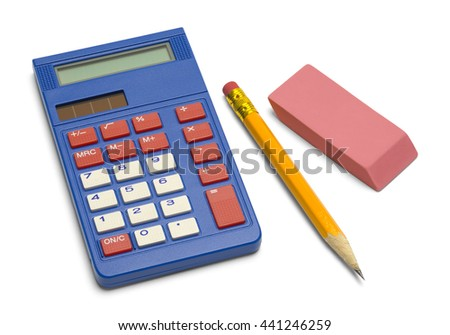 Blue Calculator with Pencil and Eraser Isolated on White Background. - stock photo