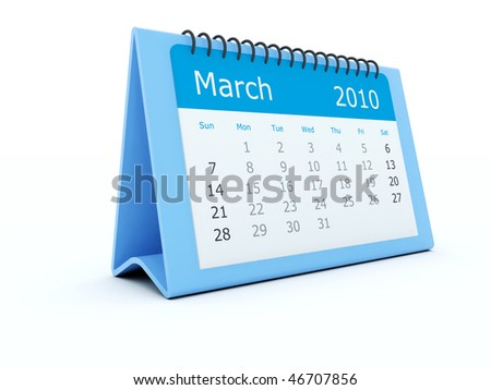 Blue calendar isolated on white