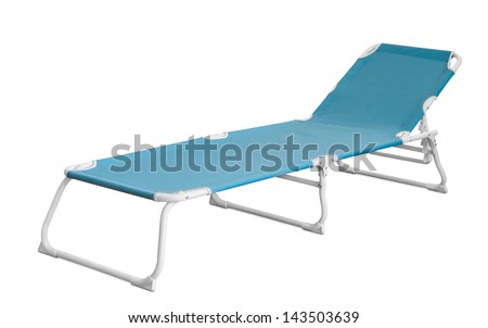 Blue camp cot isolated on white - stock photo