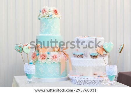 blue candy bar. the holiday table decoration - stock photo