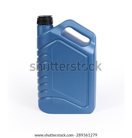 Blue canister, plastic packaging for chemical mixtures of oil, water and other liquids. A photo with a clipping path. Easy cutting and use for your design. Isolated on white background. - stock photo