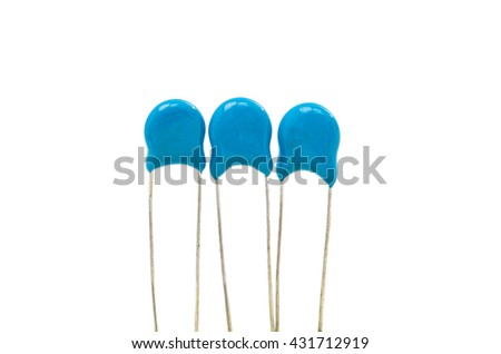 blue capacitor on a white background - stock photo