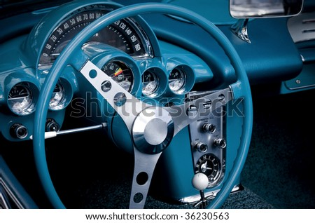 blue car cockpit - stock photo