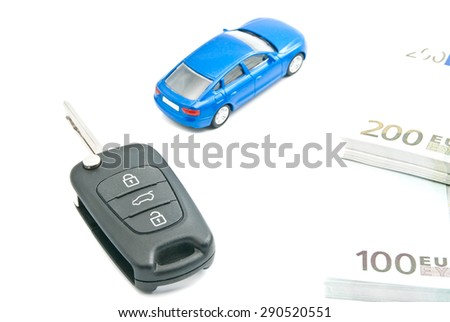 blue car, euro banknotes and car keys on white - stock photo