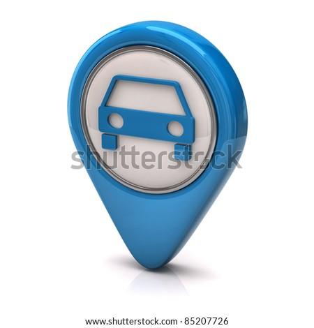 Blue car icon - stock photo