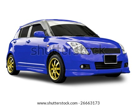 blue car isolated with clipping path - stock photo
