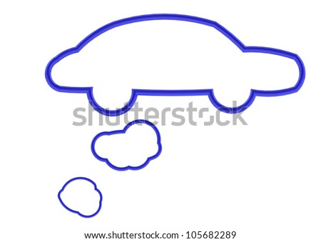 Blue car shape speech bubble - stock photo