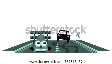 Blue car skidding to avoid worker at road works - stock photo