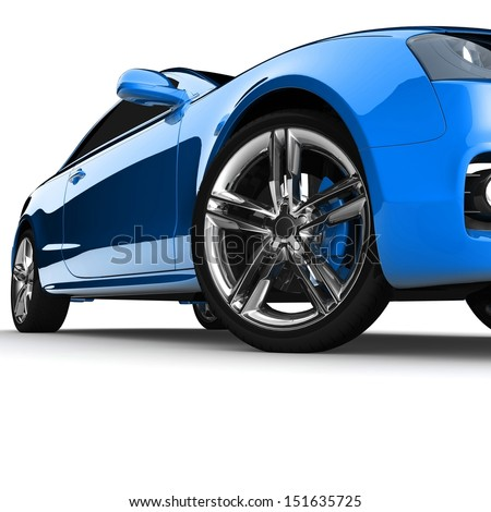 Blue car white color on a white background. with shiny paint. design concept. 3d rendering modern car - stock photo