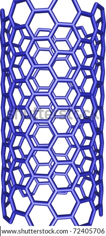 blue carbon nanotube structure on white background - stock photo