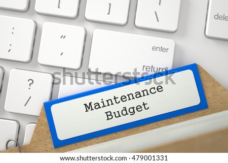 Blue Card File with Inscription Maintenance Budget Concept on Background of Modern Metallic Keyboard. Close Up View. Selective Focus. 3D Rendering.