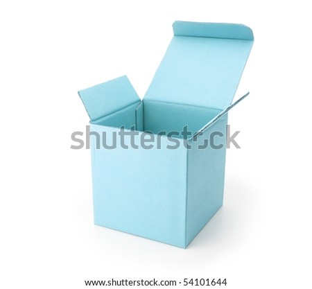 blue cardboard box with lid open, isolated on white. - stock photo