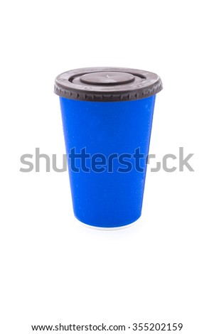 Blue cardboard cup on white background - stock photo